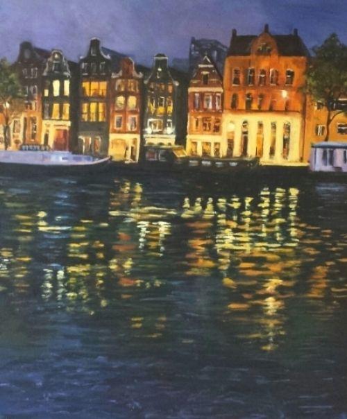 Amsterdam night painting