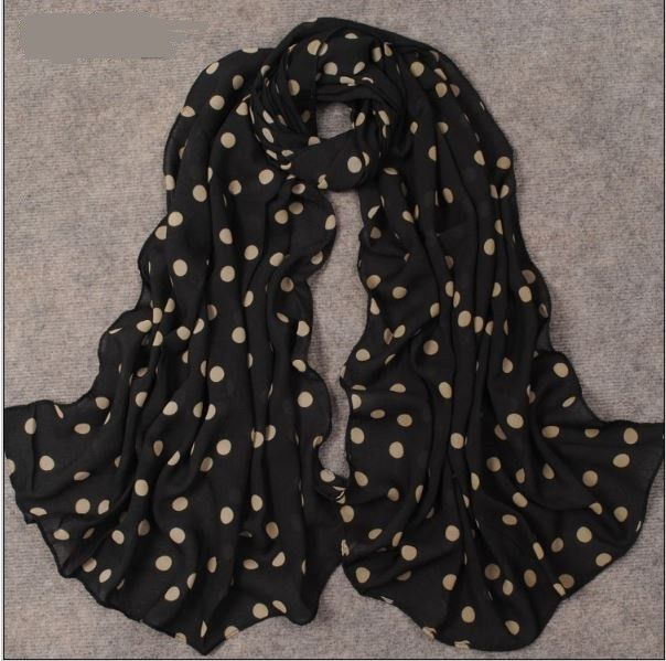 Long Black and Tan Polka Dot Velvet Chiffon Scarf