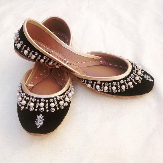 Black Khussa Shoes Mojari Jutti Beaded Flats Ethnic by ShopSoma