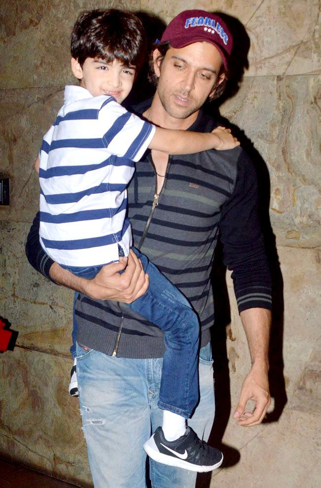 Hrithik Roshan with his younger son Hridhaan spotted at a theater