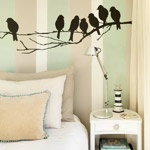 This striped wall was Ok, once they put a bird on it, it was so much better!: Birds Birds, Wall Decor, Idea, Birds Odessa9090, Stuff, Style, Birds Decor, Random Pin, Birds Imp125