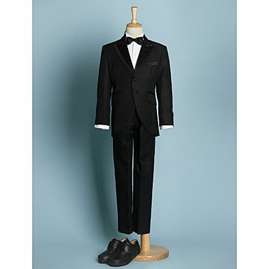 Black/Ivory Polyester Ring Bearer Suit - 5 Pieces – USD $ 69.99