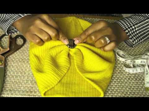 Turban Hat DIY Tutorial///YouTube - on slouch beany, sew folds up front and back, with a decorative button on the front.  Simple and effective.