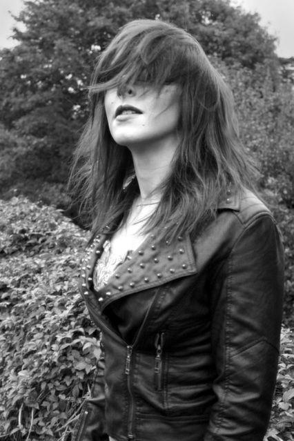 #hair #model #motion #blur #flick #location #canon #leatherjacket #studds #garden #b&w #faceless