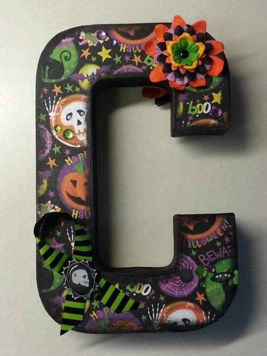 halloween hobby lobby paper mache letter mod podge black paint scrapbook paper