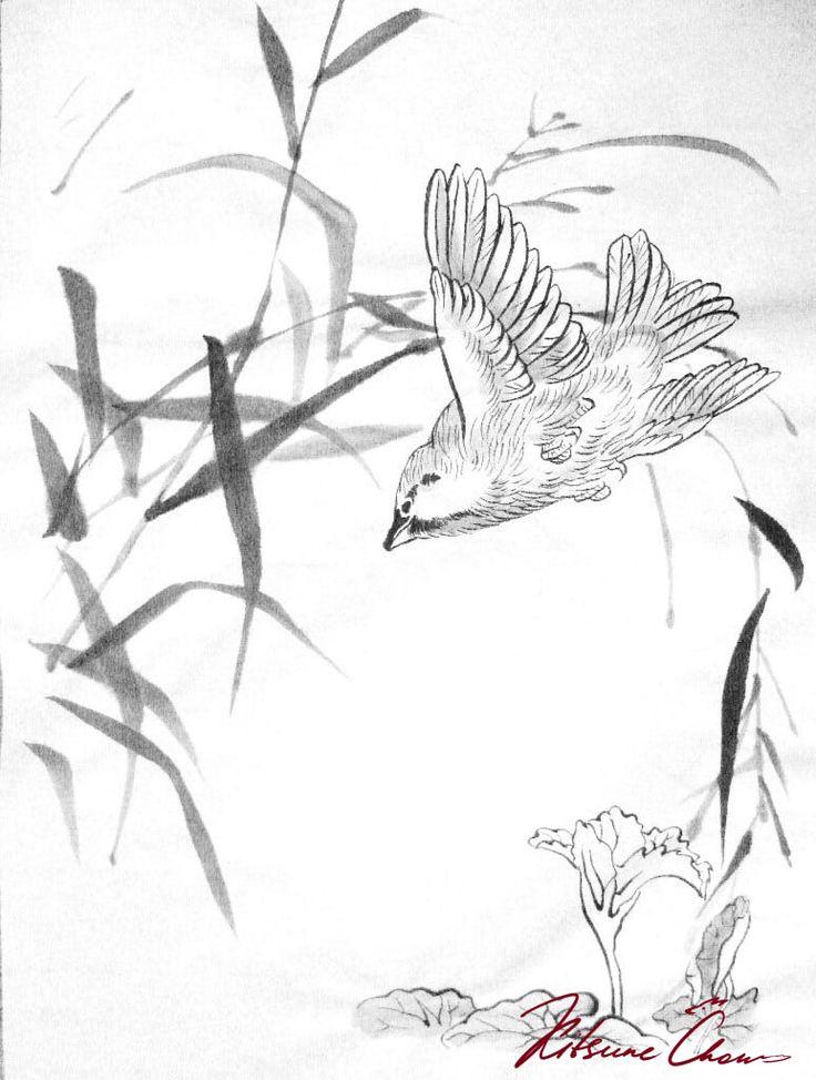 #сумиэ #японскаяживопись #графика #тушь #чернобелое #природа #птицы #живопись тушью #живопись #sumi-e #Japaneseinkpainting #drawing #blackandwhite #nature #bird #ink