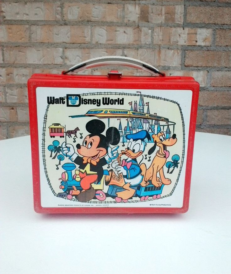 Vintage 1980'S Aladdin Walt Disney World Mickey mouse plastic Lunch Box color red by TreasuresMemories on Etsy