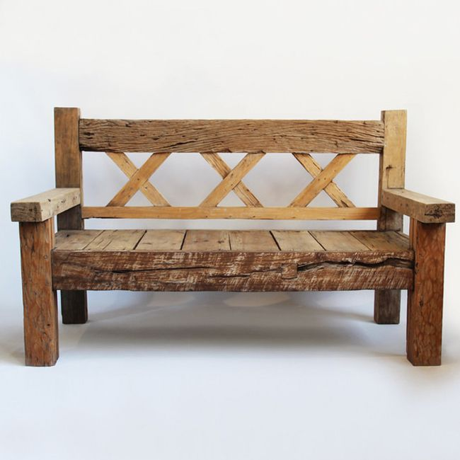 Reclaimed Old Wood Bench With Three X Patterns Across The
