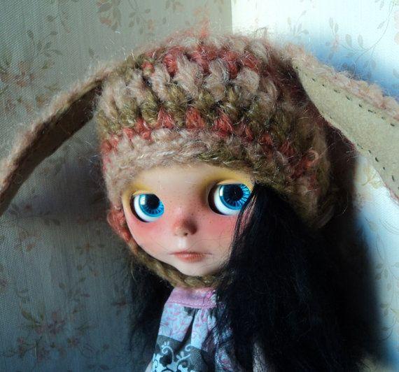 Super Soft Crazy Bunny Helmet hat for Blythe by Keur on Etsy, $23.00