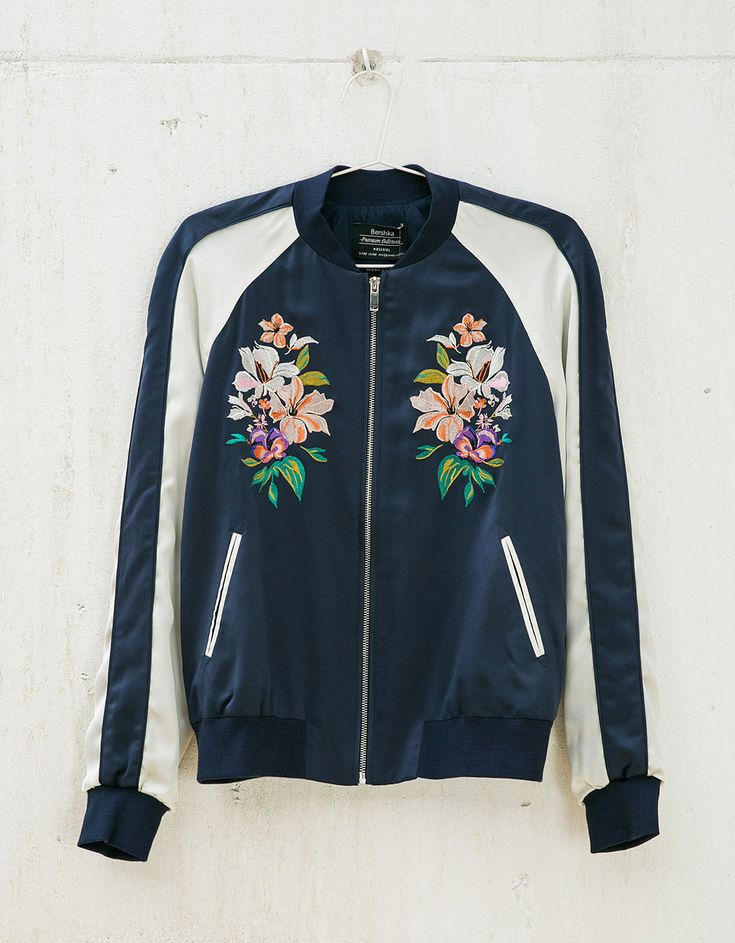 Floral embroidered bomber jacket. Discover this and many more items in Bershka with new products every week