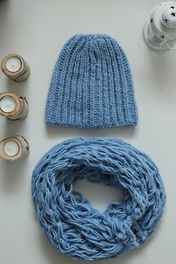 SERENITY handknitted beanie hat and scarf by KiomiStudio on Etsy