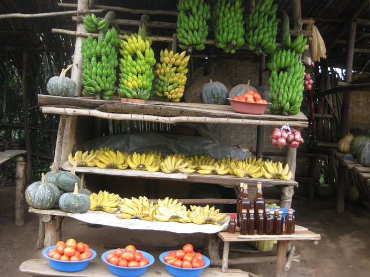 In Uganda roadside markets sell all kinds of merchandise the most common being fresh foods like fruits and vegetables