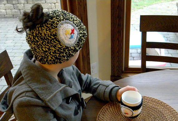 Handmade crochet Pittsburgh Steelers inspired Messy bun hat