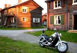 houses and bike, Skelleftea, Sweden