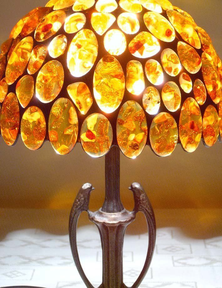 LUXURY TIFFANY LAMP -AMBER TABLE AND BEDSIDE LAMP-BIRDS in Home, Furniture & DIY, Lighting, Lamps | eBay