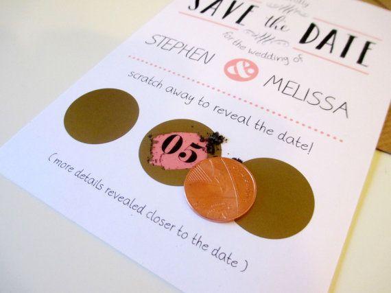 Scratch Off Save the Date Cards A6 Postcard Fun by VanillaRetro