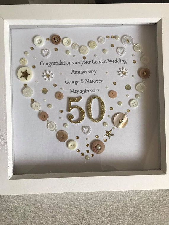 Golden Wedding Anniversary Button Art Frame Golden Wedding Etsy 50th Anniversary Gifts Golden Anniversary Gifts 50 Wedding Anniversary Gifts