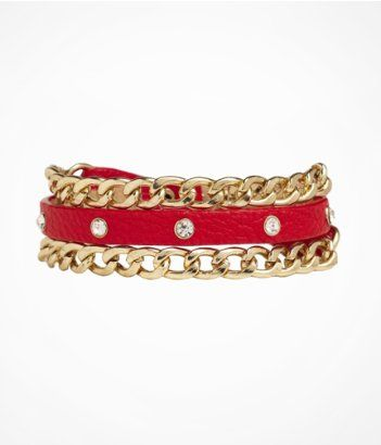 Rhinestone and Chain Embellished Wrap Bracelet #express #EXPownit #accessories #gifting