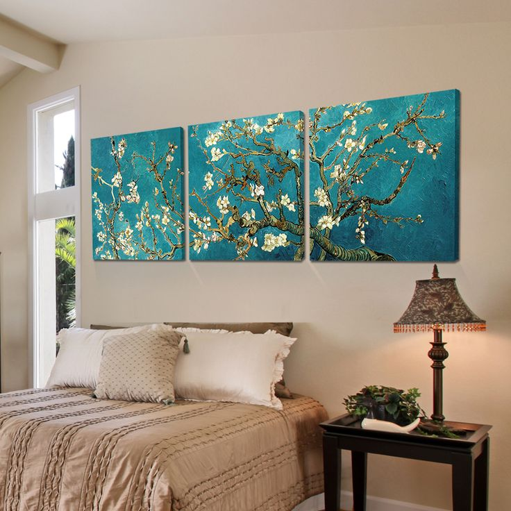 Print Painted Van Gogh Oil Painting Reproductions 3 Piece Abstract Canvas Art Almond Flower Picture Modern Wall Decor-in Painting & Calligraphy from Home & Garden on Aliexpress.com | Alibaba Group