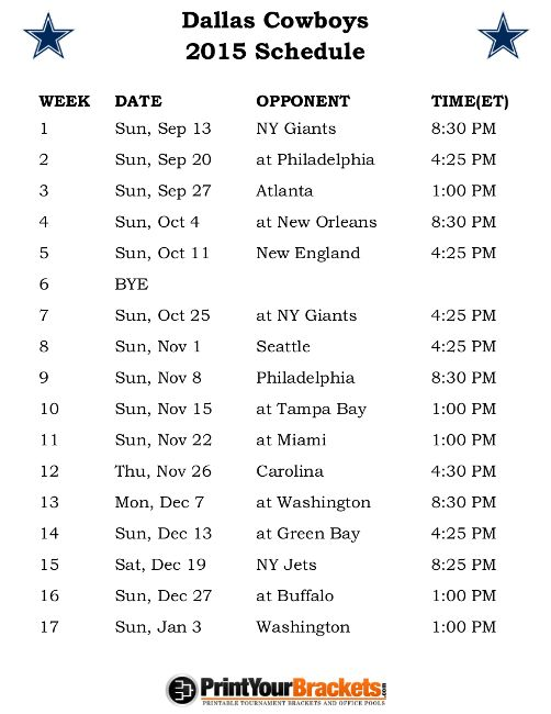 Printable Dallas Cowboys Schedule - 2015 Football Season