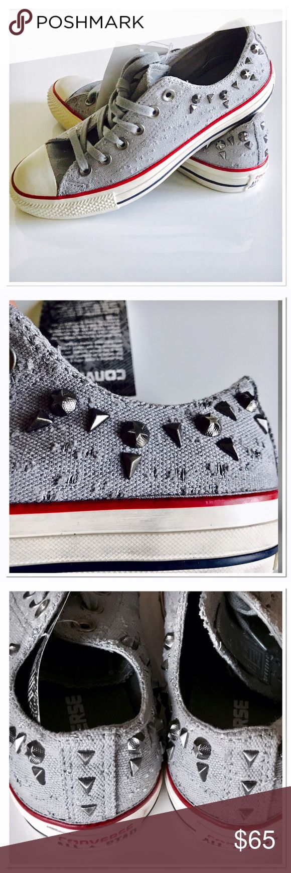 🦋HP🦋NWT Vintage look studded Converse Those are so cool. Unfortunately to big for me! All the distressed part is done by Converse! Please read tag. NWT!!!!!! ❣️HP❣️Best in Shoes❣️ Converse Shoes Sneakers