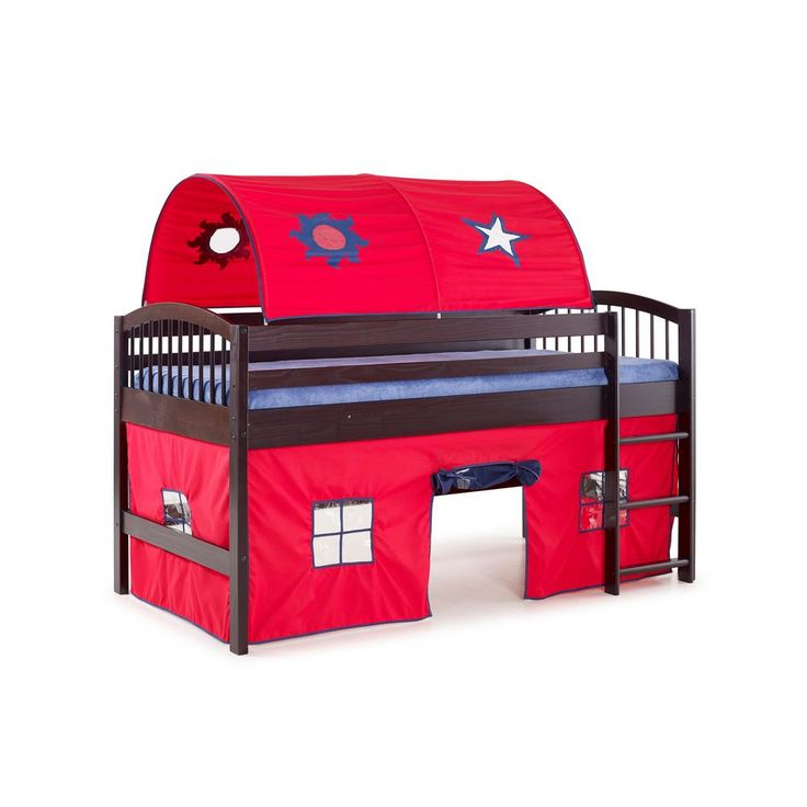 Addison Junior Loft Bed Espresso (Brown) Finish with Red Tent and Playhouse with Blue Trim