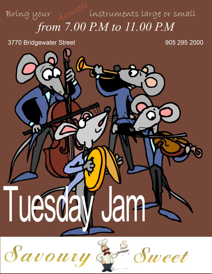 Tuesday Evenings at Savoury and Sweet Restaurant Niagara Falls, music lovers and musicians come together for a night of fun in this regular series of Jam night: newer know in advance who will show up to play, and that's part of the excitement.