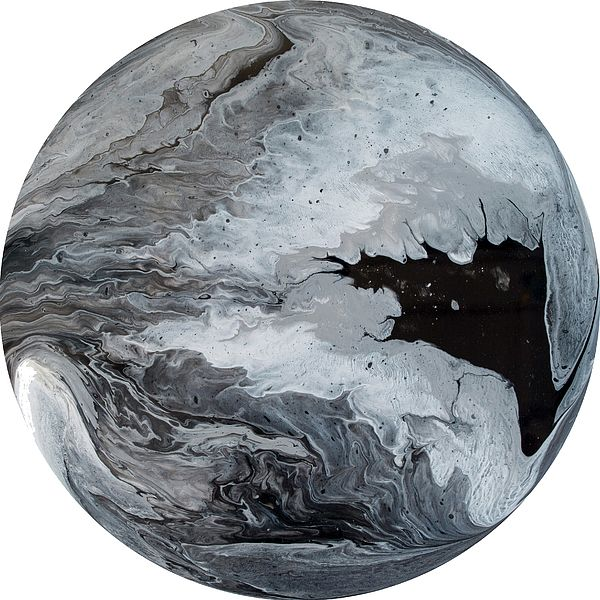 Polaris 6 - A contemporary painting created using acrylic pour techniques. Painted on plastic coated aluminium discs. Inspired by the planets and sci-fi fantasy visual themes.