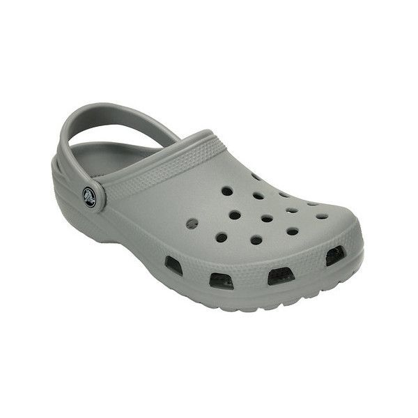 Crocs Classic Clog ($34) ❤ liked on Polyvore featuring shoes, clogs, casual footwear, casual shoes, grey, gray shoes, crocs shoes, crocodile shoes, wide width clogs and grey shoes