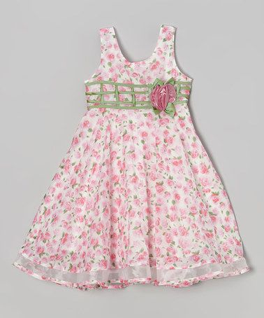 This White & Pink Rosette Lattice Dress - Girls by Bonny Billy is perfect! #zulilyfinds