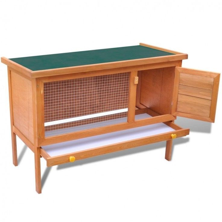 Wood Rabbit Hutch Outdoor Small Animal House Pet Cage 1 Layer Wood Bunnies New #RabbitHutch