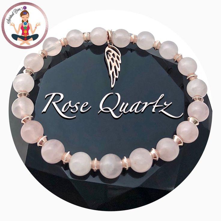 Rose Quartz Healing Crystal Rose Gold Angel Reiki Gemstone Bracelet
