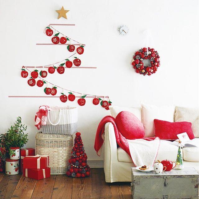 ・ 【Merry Apple DECOR りんごのガーランドでウォールデコレーションに挑戦!】 #MerryAppleChristmas 壁にマスキングテープを平行に貼り、りんごが連なるガーランドをピンで留めるだけで、りんごのツリーの出来上がり! 子どもたちと一緒に飾り付けて、クリスマスを迎える準備を始めましょう。 ・ #AfternoonTea #AfternoonTeaLIVING #アフタヌーンティー #アフタヌーンティーリビング #Apple #アップル #Decoration #デコレーション #red #赤 #DIY #お部屋時間 #暮らし #くらし #holiday #ホリデー #Christmas #クリスマス