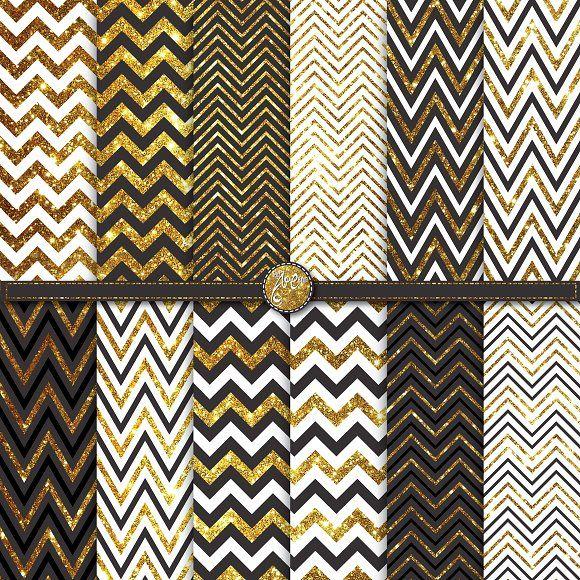 Gold Glitter Chevron Digital Paper by YenzArtHaut on @creativemarket
