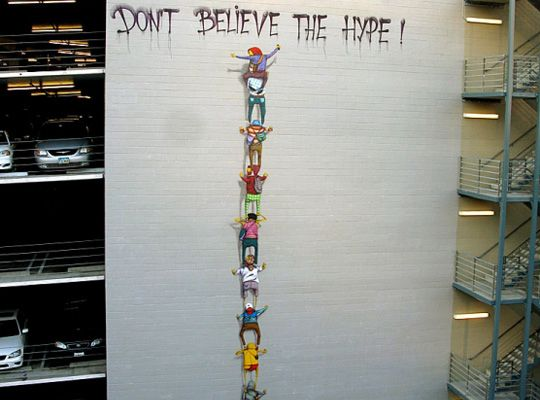 """Os Gemeos """"Don't Believe The Hype"""" Mural"""