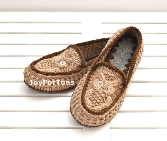 Hey, I found this really awesome Etsy listing at http://www.etsy.com/listing/165534074/crochet-slippers-owls-light-brown