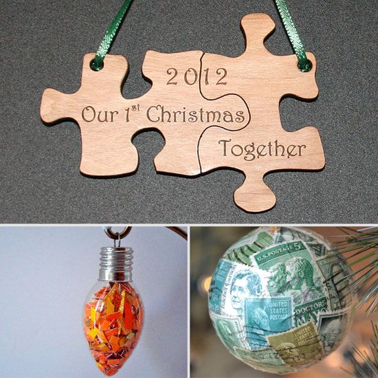 DIY 1st Christmas together puzzle piece ornament. (could be made reusing old puzzle pieces or tracing puzzle pieces onto thick cardstock. Reuse stamps to make interesting ornament that tells a story. Love these!