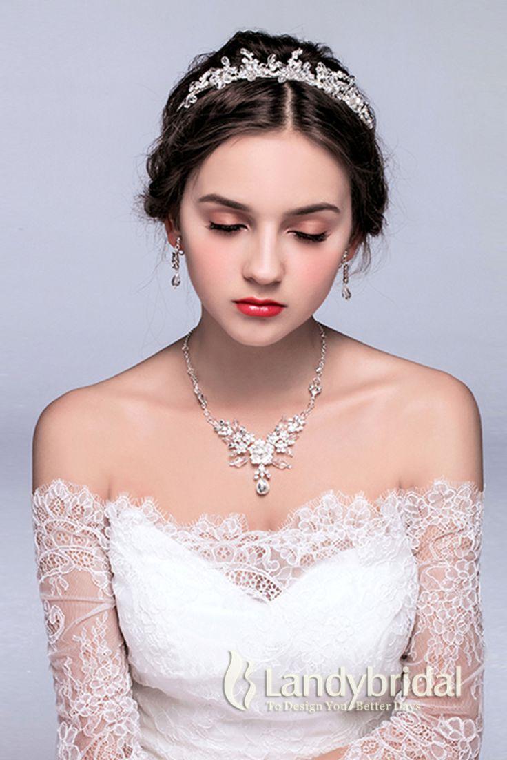 アクセサリー ティアラ イヤリング ネックレス3点セット ラインストーン ウェディング小物 結婚式 花嫁 JJ0015010 税込: ¥9,180