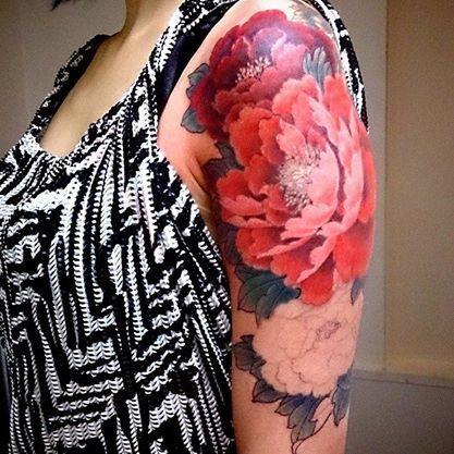 Chronic Ink Tattoo - Toronto Tattoo - Peonies tattoo in progress by Master Ma. #cultural #tattoo #tattoos