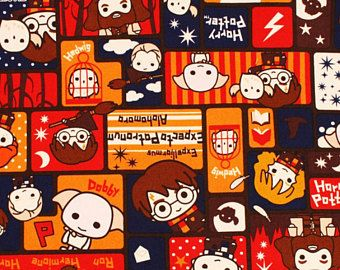 National Holiday in Korea till Oct 9th] Harry Potter Character Oxford Fabric made in Japan by the Half Meter or 0.54 Yard