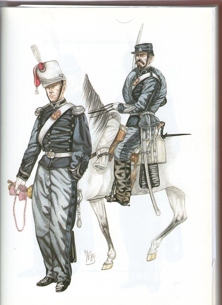 Reggimento Guide 1860 Trombettiere in gran tenuta e sergente un tenuta da…