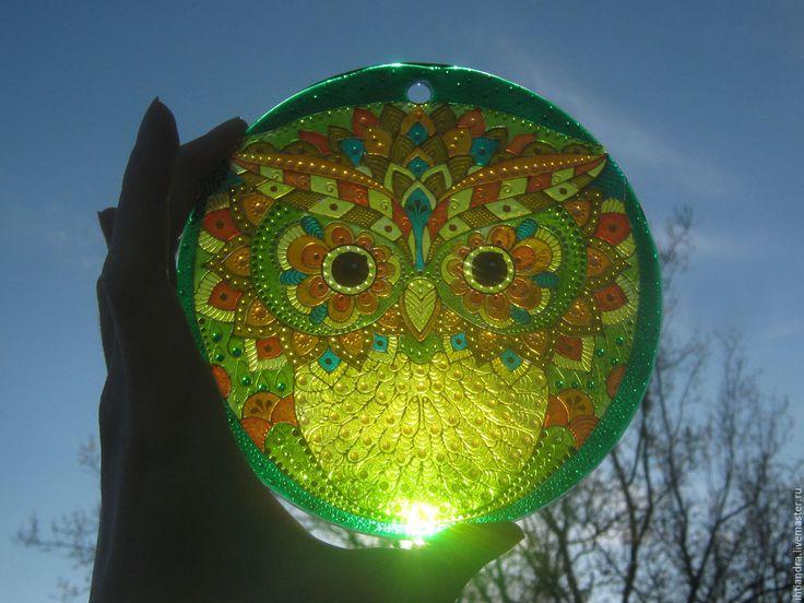 Купить Ловец солнца Совёнок Витражная роспись по стеклу - эксклюзивный подарок, точечная роспись