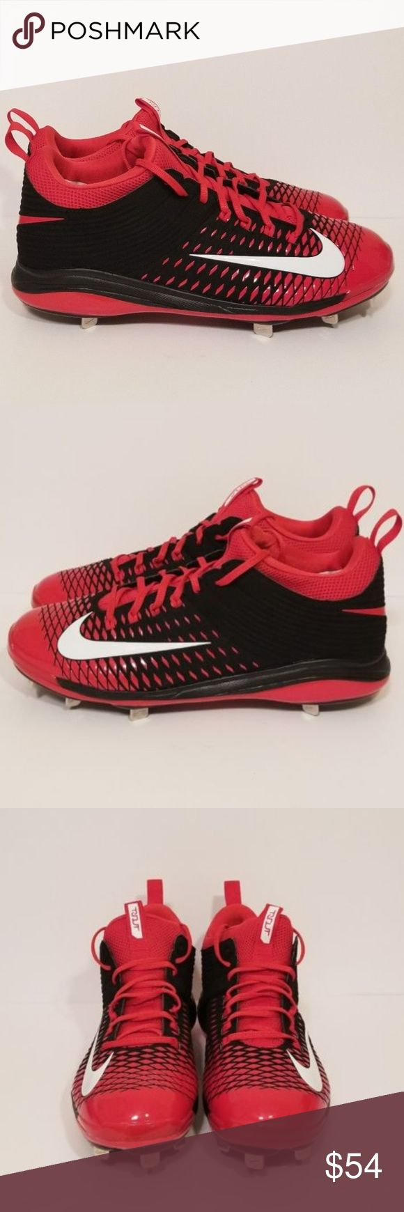 Mens Nike Mike Trout Baseball Metal Cleats Size 13 Mens Nike Mike Trout Baseball Metal Cleats Size 13 US Pro 2 Spikes Red Black New  Model - 807133-016  Size 13 Mens US  New without box   Many of our sneakers may have been tried on in store, but have never left the store being worn.   **Many of our shoes are marked with an inventory number on the bottom of one of the shoes.   Shipping:   All orders are shipped on the next business day if placed before 3pm. Nike Shoes Athletic Shoes