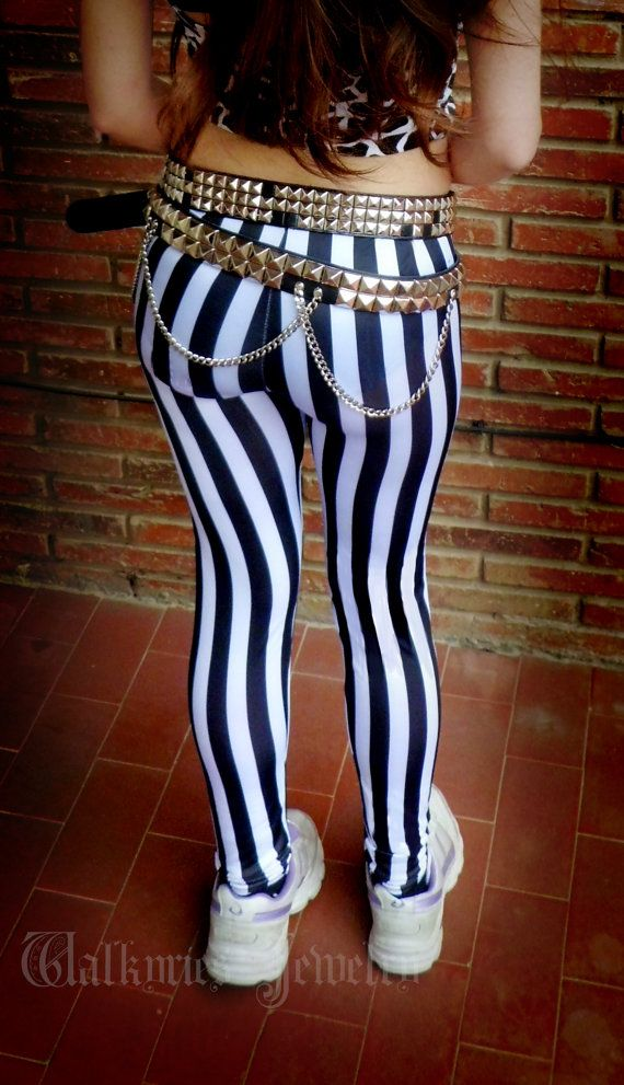 Black and white striped leggings unisex pants heavy metal inspired Steve Harris 80's glam metal rock outfit stage Beetlejuice Tim Burton