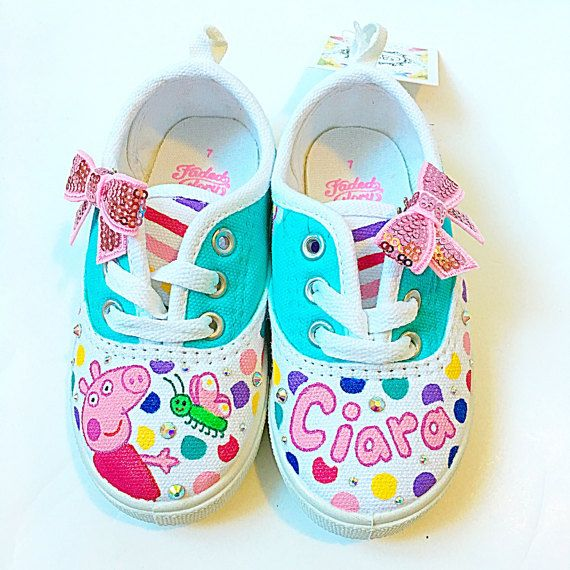 Custom peppa pig canvas shoes Toddler shoes by BellaLaceBoutique