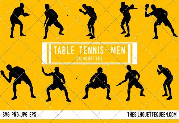 Male Table Tennis Player Silhouette Silhouette Football Silhouette Svg