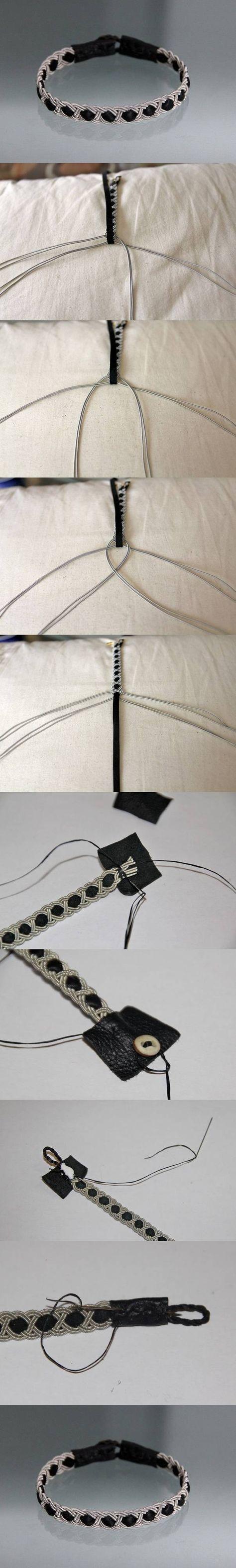 ひもをコードで編みくるむブレスレット作り方