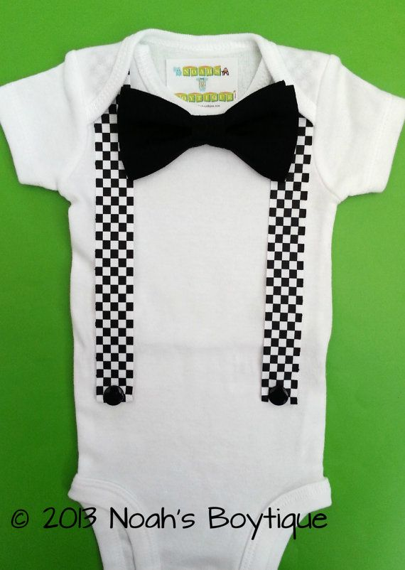 Racecar Birthday Shirt with Bow Tie - Racecar First Birthay Bow Tie and Suspender Outfit - Baby Boy Clothes - Racecar Theme Birthday Party by Noahs Boytique, $16.00