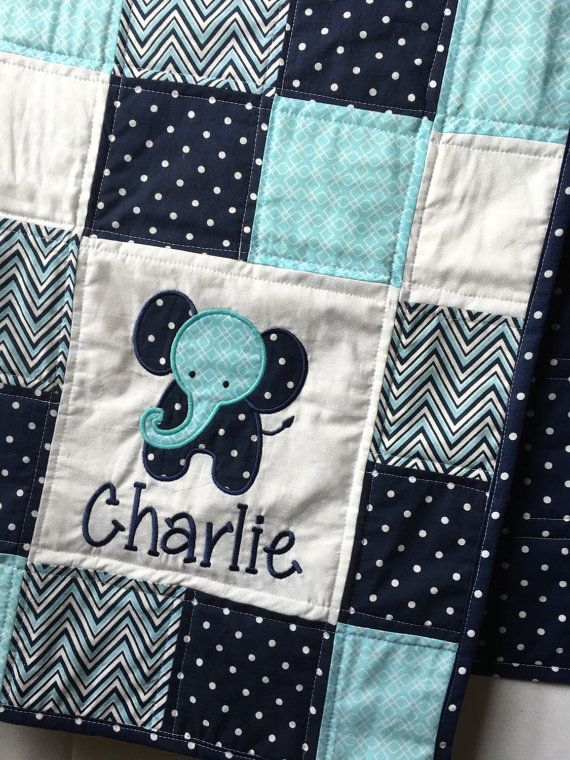Elephant Baby Quilt with appliqué and name. Boy Baby Quilt, Blue Baby Quilt…