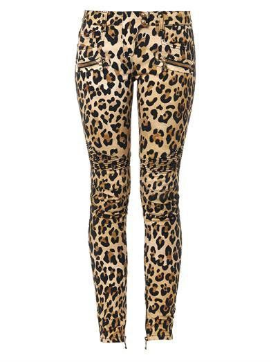Pin for Later: The Proof That There's a Leopard Print For Everyone Is Right Here Balmain Biker Jeans Balmain leopard-print mid-rise skinny biker jeans (£1,285)